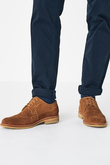 Tan Contrast Sole Suede Brogue Shoes