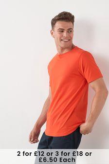 Bright Orange Regular Fit Crew Neck T-Shirt