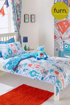 Furn Blue Little Furn Robots Duvet Cover and Pillowcase Set
