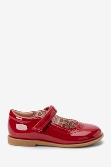 Red Patent Brogue Mary Jane Shoes