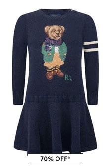 Ralph Lauren Kids Girls Navy Cotton & Wool Bear Dress