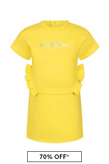 Givenchy Kids Baby Girls Yellow Cotton Dress