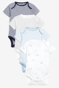Blue/White 4 Pack Elephant Short Sleeve Bodysuits (0mths-3yrs)