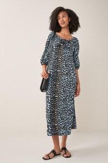 Blue Animal Puff Sleeve Midi Dress
