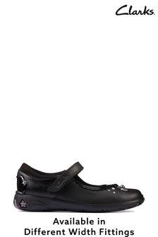 Clarks Black Leather Sea Shimmer K Shoes