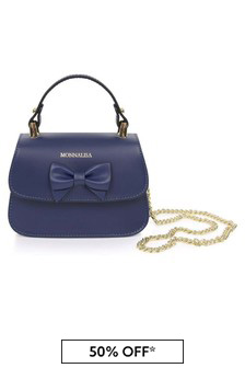 Girls Navy Leather Bow Bag