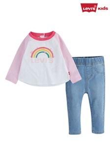 Levi's® Kids White Infant Rainbow Raglan T-Shirt And Jeans Set
