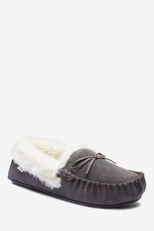 Grey Suede Moccasin Slippers