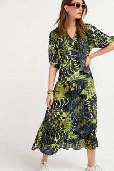 Blue/Green Sparkle Tiered Midi Dress