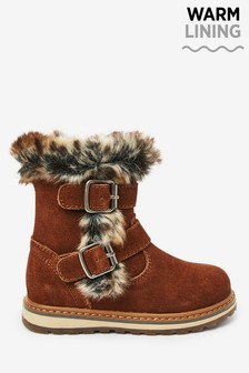 Chocolate Leather Faux Fur Buckle Boots (Younger)