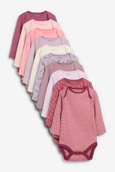 Modern Pink 10 Pack Long Sleeve Bodysuits (0mths-3yrs)