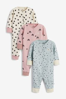 Teal 3 Pack Star Spot Footless Sleepsuits (0mths-3yrs)
