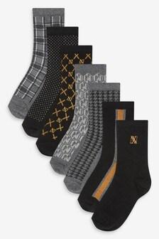 Monochrome 7 Pack Monogram Socks (Older)