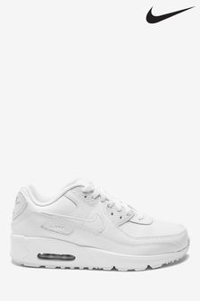 Nike White/Silver Air Max 90 Youth Trainers