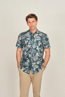 Green Regular Fit Floral Print Short Sleeve Shirt