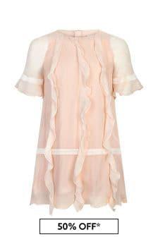 Chloe Kids Girls Pink Silk Dress