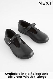 Black Wide Fit (G) Junior Leather T-Bar Shoes