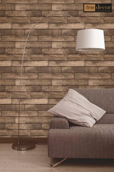Fine Décor Bronze Distinctive Wooden Plank Wallpaper