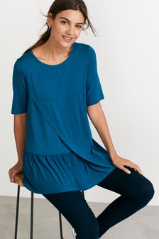 Teal Maternity Nursing Ruffle T-Shirt