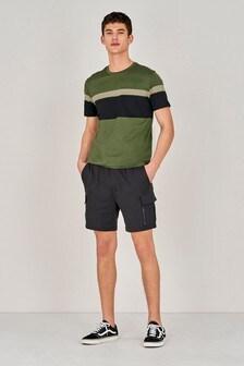Khaki Block Mercerised Cotton T-Shirt