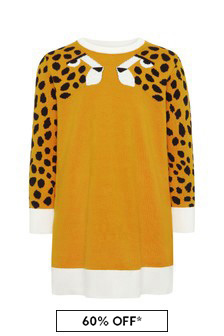 Girls Orange Cotton Dress
