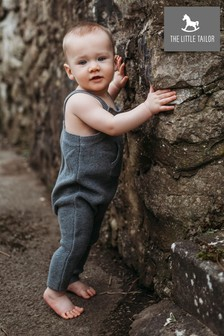 The Little Tailor Charcoal Grey Knitted Baby Dungarees