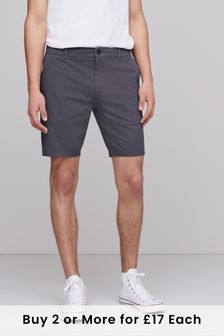 Charcoal Slim Fit Stretch Chino Shorts