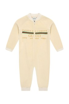 Baby Beige Chenille Embroidered Logo Romper