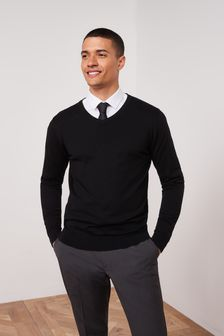 Black V-Neck Cotton Rich Jumper