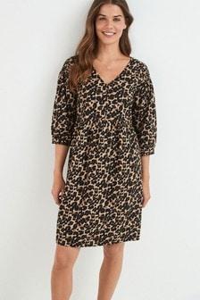 Animal Maternity/Nursing Button Front Smock Dress