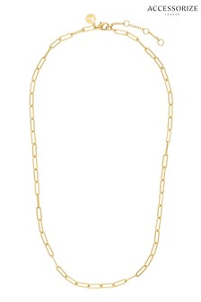 Accessorize Gold Tone Z Plain Paper Clip Chain
