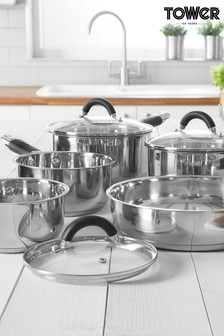 5 Piece Stainless Steel Pan Set by Tower