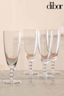 4 Beaded Champagne Flutes by Dibor