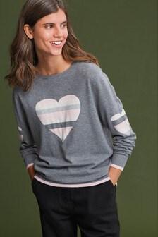 Grey Heart Stripe Jumper