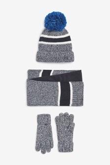 Blue Twist Hat, Gloves And Scarf Three Piece Set (Older)