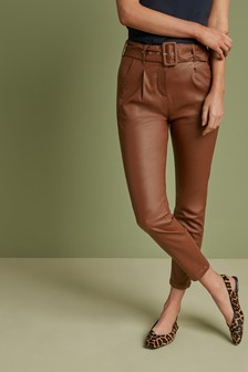 Tan Coated Belted Tapered Trousers
