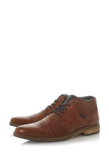 Dune London Chigwell Tan Leather Metal Eye Chukka Boots
