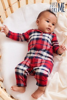 Red Matching Family Kids Check Christmas Sleepsuit (0mths-3yrs)