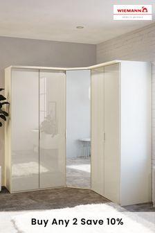 White Peyton Corner Mirror Wardrobe