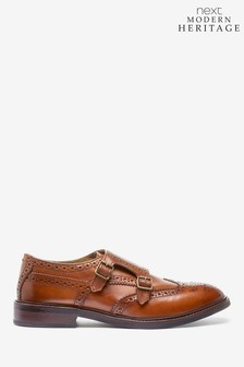 Tan Modern Heritage Leather Monk Shoes