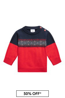 BOSS Baby Boys Navy Cotton Jumper