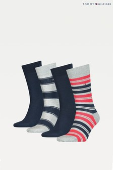 Tommy Hilfiger Blue 4 Pack Stripe Sock Tin Giftbox