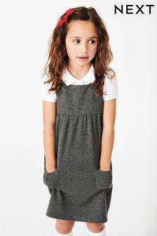 Grey Jersey Pinafore Dress (3-14yrs)