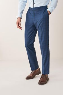Bright Blue Trousers Check Tailored Fit Suit
