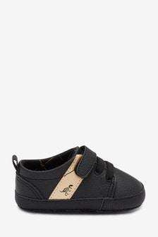 Black/Gold Single Strap Elastic Lace Pram Shoes (0-24mths)