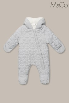 M&Co Kids Grey Star Quilted Snowsuit