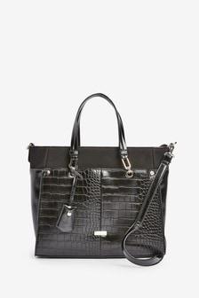 Black Tab Detail Tote Bag