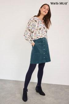 White Stuff Blue Canterbury Organic Cotton Cord Skirt