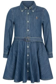 Girls Blue Cotton Denim Shirt Dress