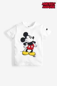 White Mickey Mouse™ Licence Boucle Short Sleeve T-Shirt (3mths-8yrs)